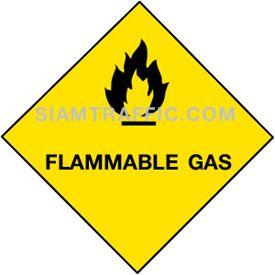 ป้ายเซฟตี้ MU 21 ขนาด 30 x 30 ซม. ระวังอันตรายจากก๊าซไวไฟ Flammable gas