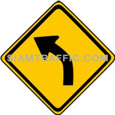ป้ายเตือน ทางโค้งซ้าย ทางข้างหน้าโค้งไปทางซ้าย ให้ขับรถให้ช้าลงพอสมควร และเดินรถชิดซ้ายด้วยความระมัดระวัง