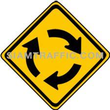 ป้ายเตือนจราจร วงเวียนข้างหน้า ทางข้างหน้าจะเป็นทางแยกมีวงเวียน ให้ขับรถให้ช้าลง และเดินรถด้วยความระมัดระวัง