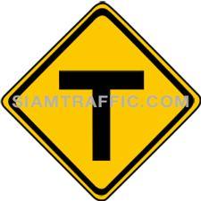 ป้ายเตือนจราจร ทางเอกตัดกันรูปตัวที ทางแยกข้างหน้าตัดกันเป็นรูปตัวที (T)ให้ขับรถด้วยความระมัดระวัง