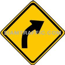 ป้ายเตือน ทางโค้งขวา ทางข้างหน้าโค้งไปทางขวา ให้ขับรถให้ช้าลงพอสมควร และเดินรถชิดซ้ายด้วยความระมัดระวัง