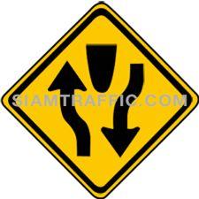 Warning Sign ทางคู่ข้างหน้า ทางข้างหน้าเป็นทางคู่มีเกาะหรือสิ่งอื่นใดแบ่งการจราจรออกเป็นสองทาง ไปทางหนึ่งมาทางหนึ่ง ให้ขับรถชิดไปด้านซ้ายด้วยความระมัดระวัง