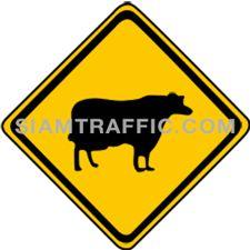 ป้ายจราจรประเภทป้ายเตือน ระวังสัตว์ ทางข้างหน้าอาจมีสัตว์ข้ามทาง ให้ขับรถให้ช้าลง และระมัดระวังอันตรายเป็นพิเศษ