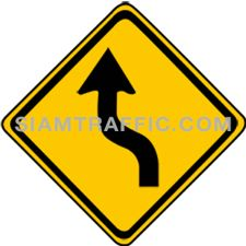 ป้ายเตือน ทางโค้งกลับเริ่มซ้าย ทางข้างหน้าเป็นทางโค้งเริ่มซ้ายแล้วกลับ ให้ขับรถให้ช้าลงพอสมควรและเดินรถชิดด้านซ้ายด้วยความระมัดระวัง