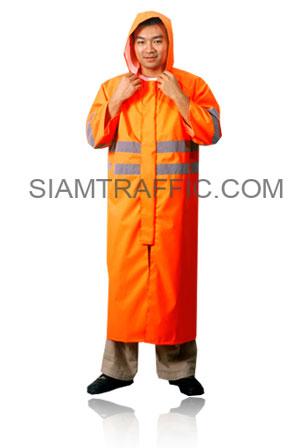 เสื้อกันฝนจราจรสะท้อนแสงแบบ A : เสื้อคลุม(คลุมทั้งตัว) สีส้ม
