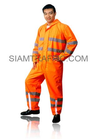 ชุดกันฝนแบบ B : ชุดหมี(ตัวเสื้อ และกางเกงเย็บติดกัน) สีส้ม