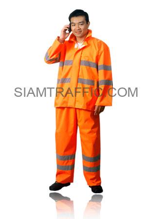 เสื้อกันฝนสะท้อนแสงแบบ C : ชนิดแยกส่วน สีส้ม