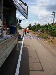 การตีเส้นจราจรด้วยสีเทอร์โมพลาสติกประเทศกัมพูชา