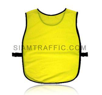 เสื้อกั๊กจราจรแบบ SWD ทั้งตัวเว้าหน้า เปิดด้านข้าง ใช้ตัวล๊อคพลาสติกสีดำขนาดฟรีไซส์ SWD01 ด้านหลัง