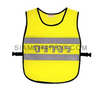 เสื้อกั๊กจราจรแบบ SWD ทั้งตัวเว้าหน้า เปิดด้านข้าง ใช้ตัวล๊อคพลาสติกสีดำขนาดฟรีไซส์ SWD02 ด้านหน้า