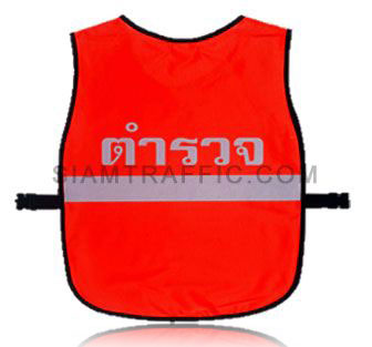 เสื้อกั๊กจราจรแบบ SWD ทั้งตัวเว้าหน้า เปิดด้านข้าง ใช้ตัวล๊อคพลาสติกสีดำขนาดฟรีไซส์ SWD03 ด้านหลัง