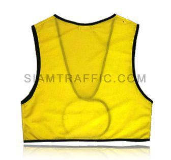 เสื้อกั๊กเซฟตี้แบบ SWF ผ่าหน้า เอวลอย ใช้ตีนตุ๊กแกแปะติด-ฉีกออก ขนาดฟรีไซส์ SWF01 ด้านหลัง
