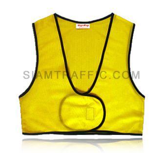 เสื้อกั๊กเซฟตี้แบบ SWF ผ่าหน้า เอวลอย ใช้ตีนตุ๊กแกแปะติด-ฉีกออก ขนาดฟรีไซส์ SWF01 ด้านหน้า