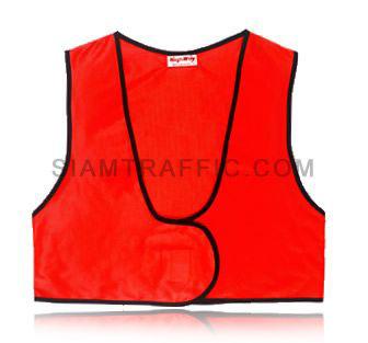 เสื้อกั๊กเซฟตี้แบบ SWF ผ่าหน้า เอวลอย ใช้ตีนตุ๊กแกแปะติด-ฉีกออก ขนาดฟรีไซส์ SWF02 ด้านหน้า