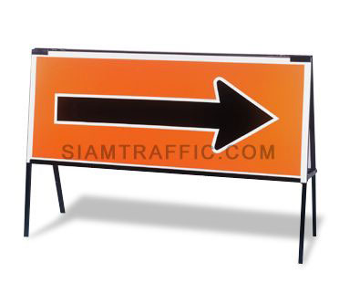 Street Barrier : Type J2 Horizontal stand with slot for sign insertion, sign side can be reversed. It has two size as following : 1. 60 x 120 cm. 2. 50 x 150 cm.