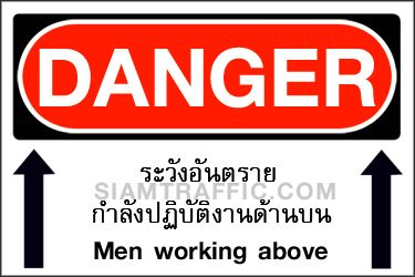 Safety Sign A03 size 30 x 45 cm. Danger : Men working above