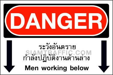 Safety Sign A09 size 30 x 45 cm. Danger : Men working below