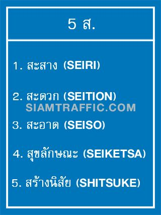 Supplementary Sign : Safety Sign Mu 14 size 60 x 80 cm. 5 S. 1. Seiri 2. Seition 3. Seiso 4. Seiketsa 5. Shitsuke