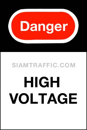 Safety Sign : Supplementary Sign Mu 24 size 30 x 45 cm. Danger high voltage