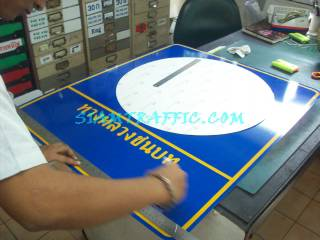 Road sign attached by 3M reflective sticker