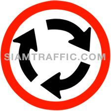 "Traffic Regulatory Signs : ""Roundabout"" All drivers of vehicles must follow the traffic flow to the left (clockwise). Vehicles entering a roundabout must give way to all traffic within the roudabout first. Additionally, entering vehicles are not allowed to overtake or crosscut the traffic within the roundabout."
