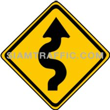 "2-10 Warning Sign ""Right Winding Road"" – The way ahead is a zig zag road starting on the right. Drivers should slow down the vehicle, and drive on the left of the road with caution."