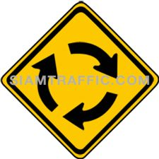 "2-12 Warning Sign ""Roundabout"" – Roundabout coming up ahead, drivers should slow down the vehicle and drive carefully."