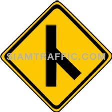 "2-21 Signs Warning ""Angle Side Road Right"" – A secondary way merges with the main way from the right. Drivers are advised to drive cautiously."