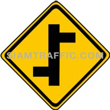 "2-22 Signs Warning ""T junction Left & Right"" – A secondary branches off the main way on the left, following by another secondary way branches off on the right. Drivers are advised to drive cautiously."