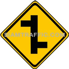 "2-23 Signs Of Warning ""T junction Right & Left"" – A secondary branches off the main way on the right, following by another secondary way branches off on the left. Drivers are advised to drive cautiously."