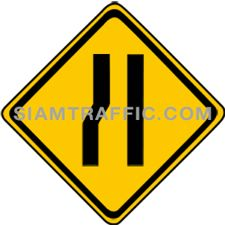 "2-27/1 Signs Of Warning ""Left Narrow Lane"" – The left lane of the way ahead is narrowed down. Drivers of vehicles are required to drive more carefully and slowly."