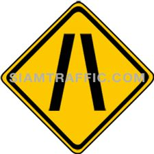 "2-28 A Warning Sign ""Narrow Lanes"" – The way head is narrowed down on both sides. Drivers of vehicles are required to drive more carefully and slowly, as well as trying to not to cause any accident."