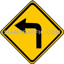 "2-3 Warning Signs ""Left Turn"" – The way ahead is a sharp left turn. Drivers should slow down the vehicle, and drive on the left of the road with caution."