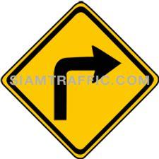 ป้ายเตือน ทางโค้งรัศมีแคบเลี้ยวขวา ทางข้างหน้าโค้งรัศมีแคบไปทางขวา ให้ขับรถให้ช้าลงพอสมควร และเดินรถชิดซ้ายด้วยความระมัดระวัง