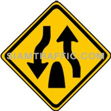 "2-41 Sign Warning ""Divided Highway Ends"" – The way ahead is a single carriage way without central barrier or median. Drivers of vehicles are advised to drive slowly, keep left, and be cautious of the oncoming traffic."