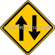 "2-42 Sign Warning ""Two Way Traffic"" – The way ahead has two directions traffic. Drivers of vehicles must drive slowly, keep left and be cautious of the oncoming traffic."