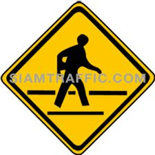 "2-45 Work Signs ""Pedestrain Crossing"" – Pedestrian crossing or community area with people crossing the road on a regular basis, is coming up ahead. Drivers of vehicles must drive slowly and be careful of pedestrians. If there is a pedestrian waiting to cross the road, drivers must wait for the pedestrian to cross first."