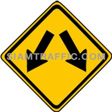 "2-48 Work Signs ""Double Arrow"" – There is traffic island or central barrier. Vehicles can pass by both left and right side of the sign."