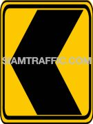 "2-62 Warning Danger Signs ""Direction Warning Sign"" –The way is diverted in the direction of the arrow. Drivers must drive slowly and carefully."
