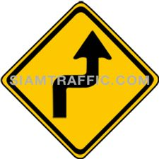 "2-8 Warning Sign ""Right Reverse Turns"" – The way ahead curves sharply to the right, and then curves back to the left. Drivers should slow down the vehicle, and drive on the left of the road with caution."