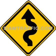 "2-9 Warning Sign ""Left Winding Road"" – The way ahead is a zig zag road starting on the left. Drivers should slow down the vehicle, and drive on the left of the road with caution."