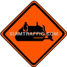 "2-97 Construction Signs ""Machine Working"" – The way ahead has machines working on the road side or may occasionally obtrude the road surface."