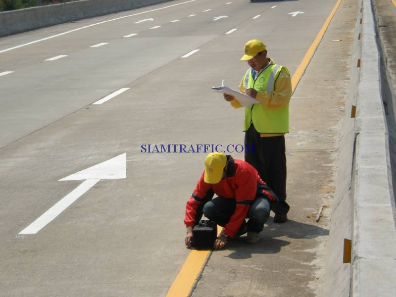 Thermoplastic Marking : Reflection test of Department of Highway
