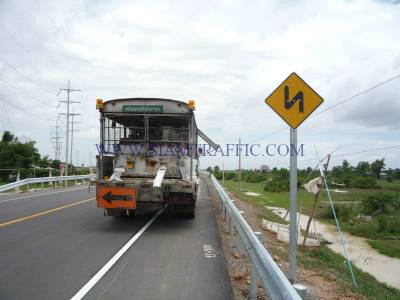 Traffic sign, thermoplastic road marking service and guard rail at Cambodia