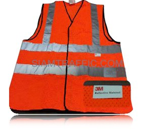 3M 2925 Flu Red/Orange Safety Vest : Front
