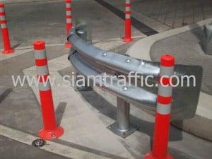 Guardrail and traffic pole at Siriraj Hospital