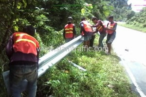 Highway guardrail Nakhon Si Thammarat Highway District Thung Song