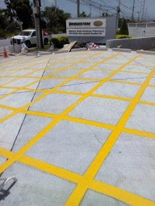 Thermoplastic road marking at Bridgestone Bandag