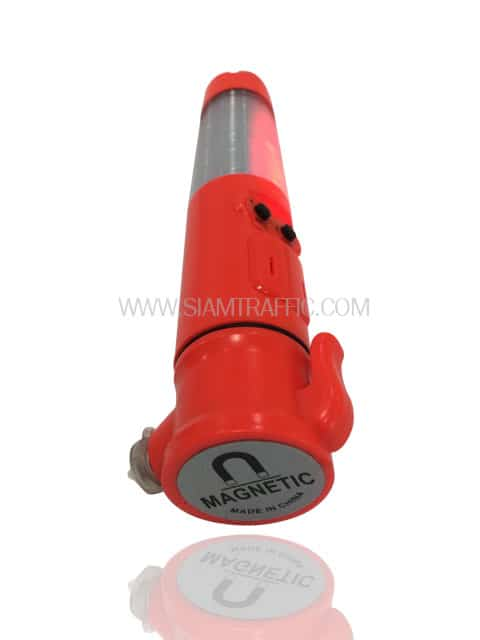 Traffic safety baton light with magnetic base