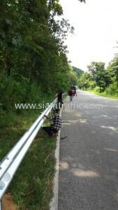 Road crash barrier at Kamphaeng Phet Highway District